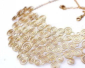 Gold Filigree Bib Necklace, Spiral Design Necklace, Gold Statement Necklace, Bridal Gold Bib Necklace, Lace Jewelry