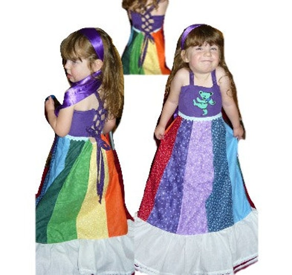 Hippie Handmade Patchwork Custom Made Girls Rainbow Spinner Dress- Grateful Dead
