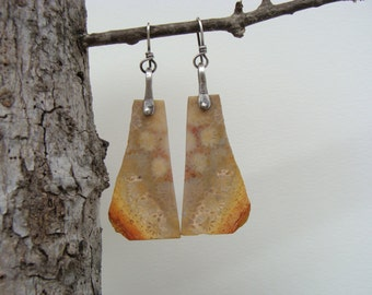 Fossil Coral Sterling Silver Oxidized Dangle Earrings