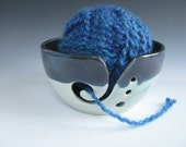 Ceramic Pottery Knitting Bowl / Yarn Bowl in Dark Blue and Turquoise