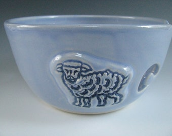 Ceramic Pottery Yarn Bowl / Knitting Bowl in Light Blue with Blue Sheep