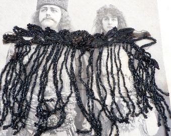 Vintage Antique 1880/1900 Victorian old French jet beads fringes  trim/adornment / fringes