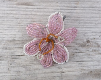Vintage Antique 1900/1920 French timeworn beaded flower pink beadwork