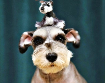 Needle Felted Dog / Custom Pet Portrait  / Handmade Poseable Artist Sculpture Personalized gift / example Miniature Schnauzer