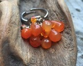 Fire Agate Orange Stone and Glass Crystal Cluster Dangle Ring, Adjustable Band