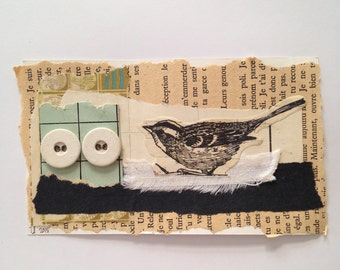 Original Collage - bird and buttons