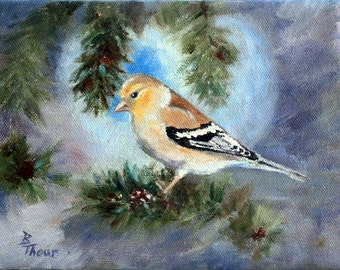 Goldfinch In a Tree Original 6x8 Oil Painting