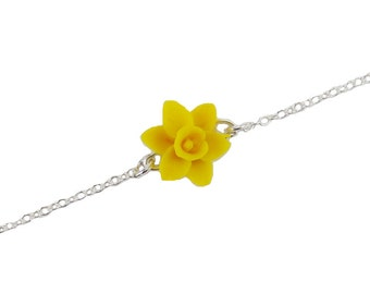 Daffodil Sterling Silver Anklet or Bracelet - Daffodil Ankle Bracelet Jewelry, March Birthday Birth Flower, Spring Flower Jewelry