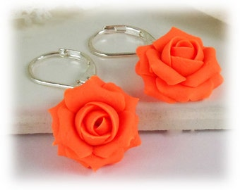 Neon Orange Rose Dangle Earrings - Neon Orange Flower Drop Earrings