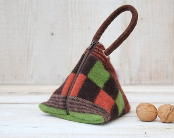 Triangle Pouch in Brown Orange and Green Patchwork and Stripes
