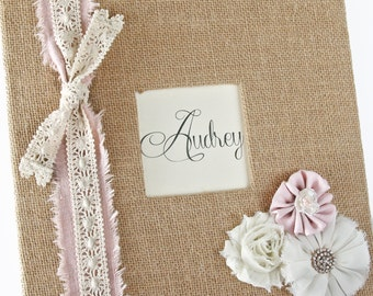 """Burlap Baby Memory Book, Linen and Lace, Shabby Chic Flowers, """"Hello Baby"""""""