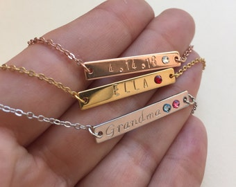 Bridesmaids Gift Idea Personalized Birthstone Necklace Custom Hand Stamped Bar Necklaces Three Finishes Available
