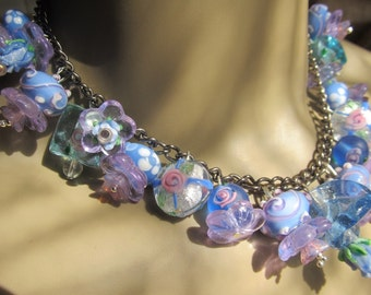 Lavender And Blue Faerie Land Lampwork Beaded Necklace Handmade By Susan Every OOAK , Ships Worldwide