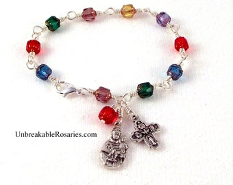 St Anthony Rosary Bracelet Wire-Wrapped Rainbow Cathedral Czech Glass with 4-Way Cross by Unbreakable Rosaries
