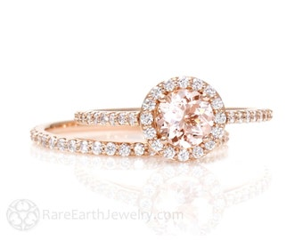 Morganite Engagement Ring Conflict Free Diamond Halo Wedding Set Rose Gold Custom Bridal Jewelry