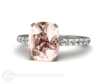 Platinum Morganite Cushion Engagement Ring Diamond Morganite Ring Bridal Jewelry