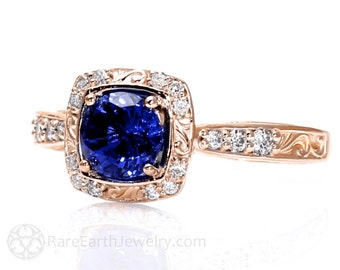 14K Rose Gold Art Nouveau Blue Sapphire Engagement Ring Diamond Halo Blue Sapphire Ring Vintage Custom Bridal Jewelry