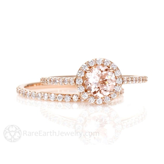 morganite engagement ring conflict free halo wedding