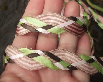 Handfasting Cord - SiMPLE Pink Green Brown Pinstripe Ribbon Long