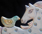 Ceramic  Horse tile wall hanging for home or garden