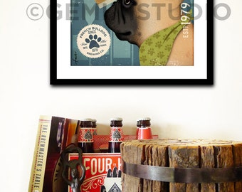 Frenchie French Bulldog Brewing Company dog graphic illustration giclee archival signed artist's print