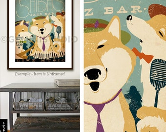Shiba Inu dog shibas Jazz Bar original graphic illustration giclee archival signed print by Stephen Fowler