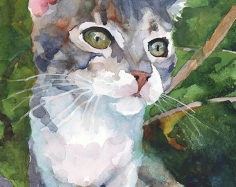 Tabby Cat Original Watercolor Painting 11x14