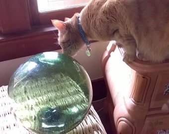 """Large Antique Glass Fishing Float 34"""" Circumference Found in 1940s Oregon Coast lots Bubbles Japanese, Pacific Coast Find"""