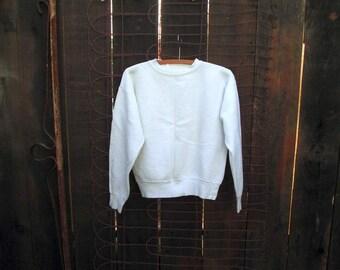 "70s Vintage Sweatshirt white pullover sweatshirt Wide 3"" ribbing All Cotton vintage Sweatshirt S M"