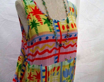Jams World Hawaiian Dress Palm Tree print crazy Tulip floral vintage Summer sundress m