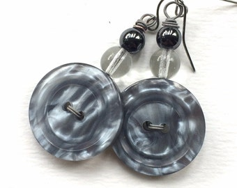 Shiny Silver Grey Button Earrings - Chunky Gray Jewelry