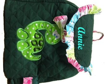 Big Green Dinosaur Boy Or Girl TODDLER  Backpack CUSTOM HANDMADE Embroidered and Applique'd  Choose your Quilted Fabric color and your Trim