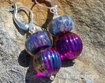 Grape Juice - Marine Blue and Purple Earrings - Lampwork earrings