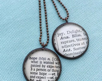Personalized Word Jewelry, Word of your Choice, Ephemera Necklace Made from Vintage Dictionaries, Inspirational Definition Pendant.