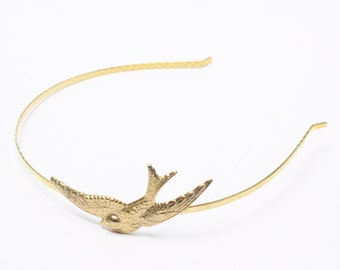 Bird headband swallow gold metal retro 1950's vintage style hair accessory sparrow golden hairband bridal