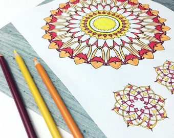 Downloadable Coloring Pages, Coloring Book for Adults, Celtic Knots and Kaleidoscopes to Color