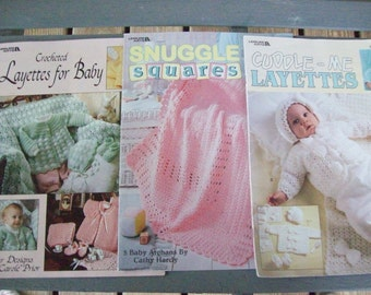 Set of 3,Patterns,Crochet,Supplies,Crafts,Baby,Afghans,Layettes,Leisure Arts,Sweaters,Hats,Booties