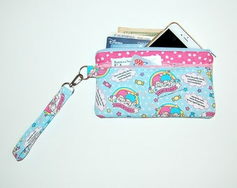 Double Zipper Wristlet Purse with Interior Pockets and Removable Strap - Handcrafted from Little Twin Stars Fabric (Blue)