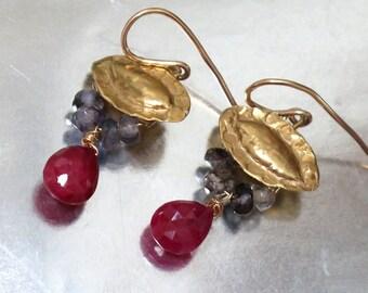 Red and Purple Earrings, Gold Iolite Earrings, Ruby Gold Dangle Earrings, gold stone drops, Iolite Gemstone, Drop Earrings, Ruby Earrings