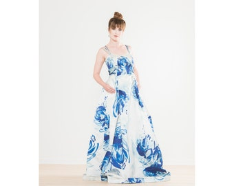WaterColor Handpainted Floral Print Wedding Gown with Detachable Train - Alicia