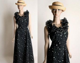 ON SALE Vintage 1970s Maxi Dress - Black and White Polka Dot Floor Length Ruffle Dress - Small Medium