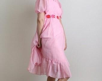 ON SALE Vintage 1960s Dress - Bubblegum Pink Ruffle Flower Petal Dolly Dress - Small