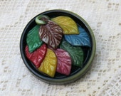 Large Multi-Color Leaf Button ...  the Leaves of Fall ... Sewing Embellishment