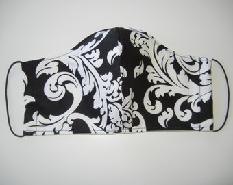 Fabric Surgical Face Mask in Elegance Black White Floral Scroll
