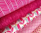 Spring fabric, Bright fabric, Girl Fabric, True Colors by Joel Dewberry, Nursery fabric, Wedding Fabric, Pink fabric, Fabric Bundle of 5
