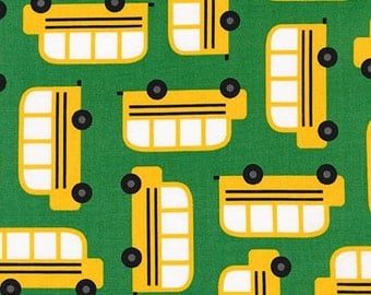 Back to School fabric, School Fabric by Ann Kelle for Robert Kaufman, Classroom Decor, Teacher gift, Bus in Green, Choose your cut