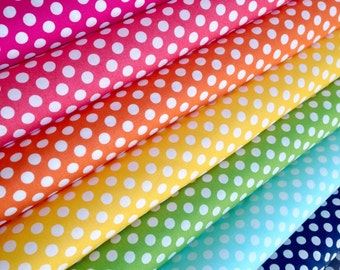 Best Seller, Rainbow Polka Dot Fabric, Cotton Fabric by the Yard, Robert Kaufman Spot On Fabric Bundle of 8, Choose your Cuts, Filler Fabric