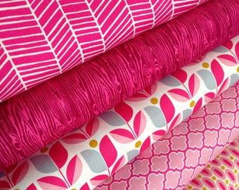 Spring fabric, Bright fabric, Girl Fabric, True Colors by Joel Dewberry, Nursery fabric, Wedding Fabric, Pink fabric, Fabric Bundle of 5