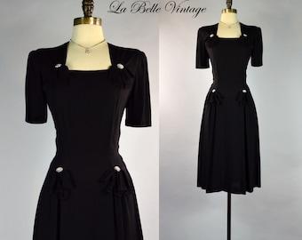 Vintage 1940s Black Rayon Crepe Swing Dress ~ Rhinestone Bows
