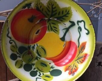 VINTAGE HOME...large enamel metal bowl- lamp making supplies- fall decor wedding party supplies - green orange white red